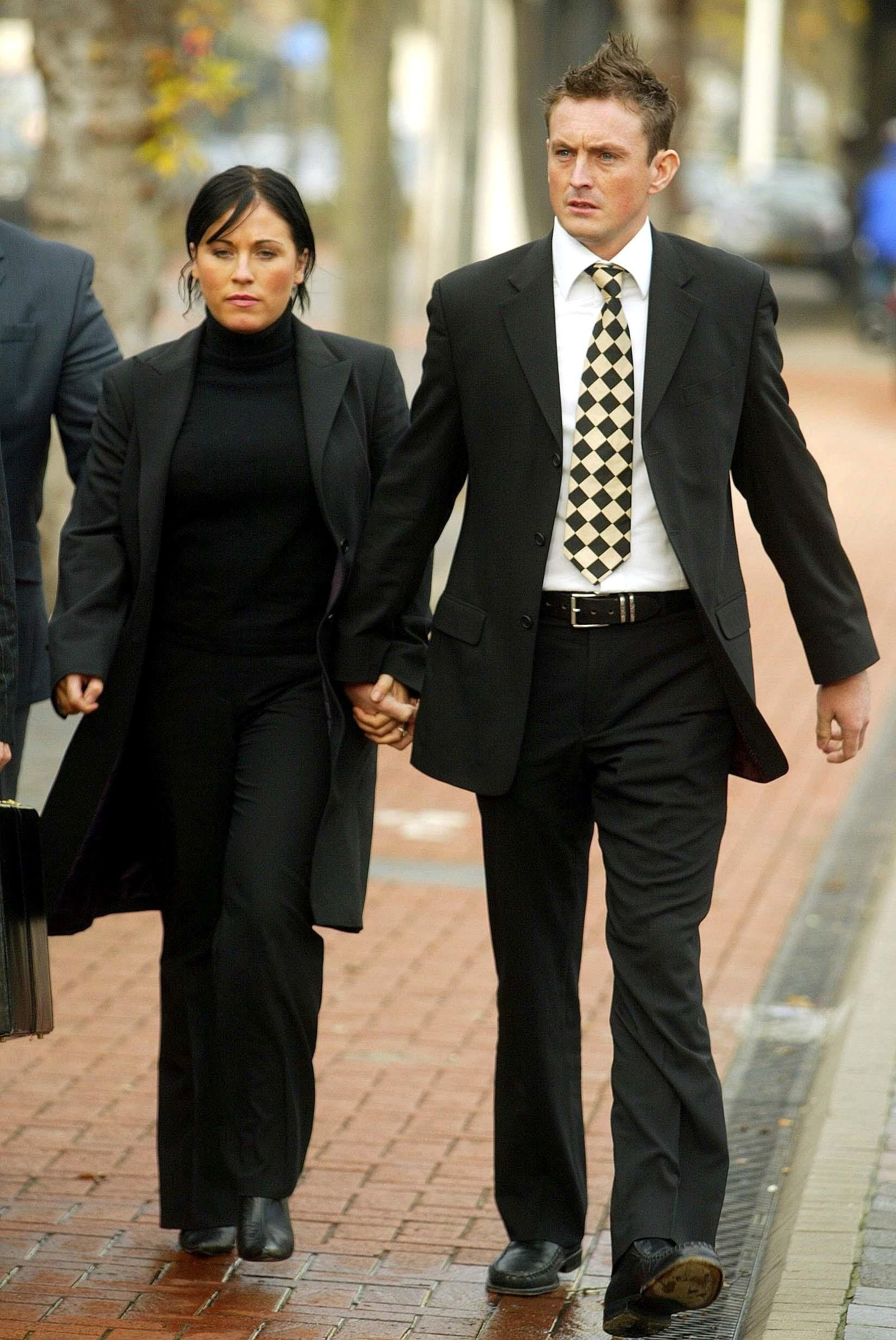 Jessie arrives at court accused of drink-driving in 2003, accompanied by then-boyfriend and former police officer David Morgan