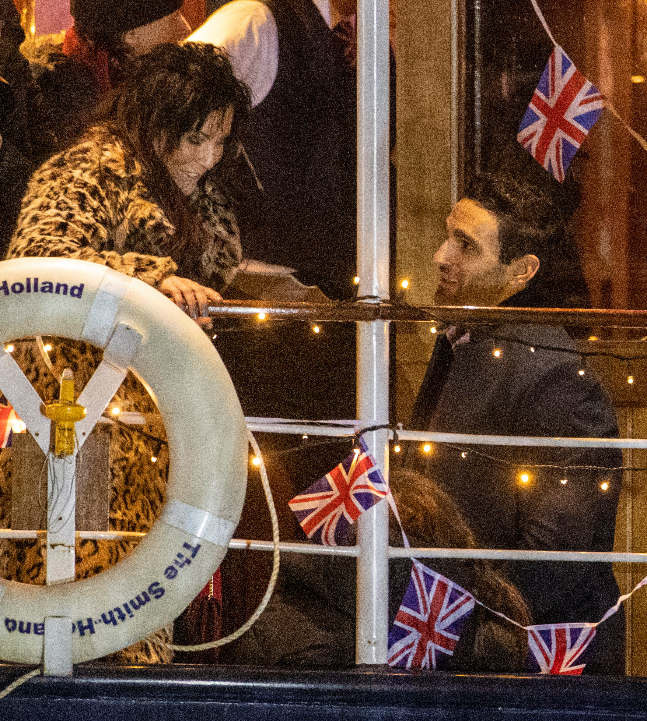 Jessie was filming on a boat on the Thames alongside co-stars including Davood Ghadami