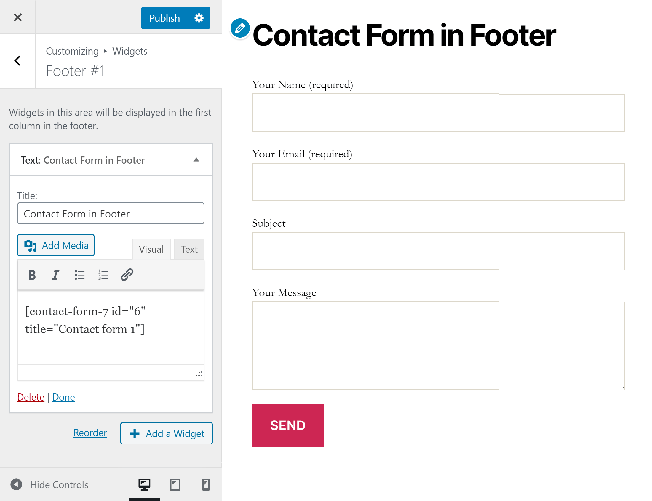 Contact Form 7 Footer Widget