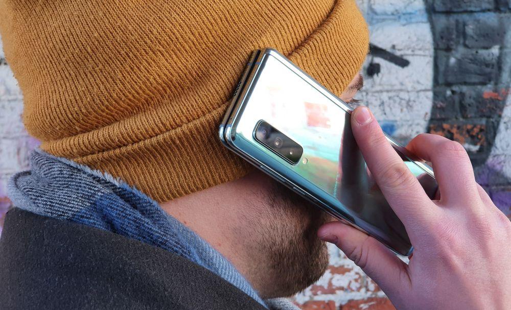 Samsung Galaxy Fold 5G on the phone