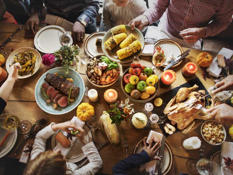 Safe Baby Healthy Child post on organic turkey Thanksgiving meal on table