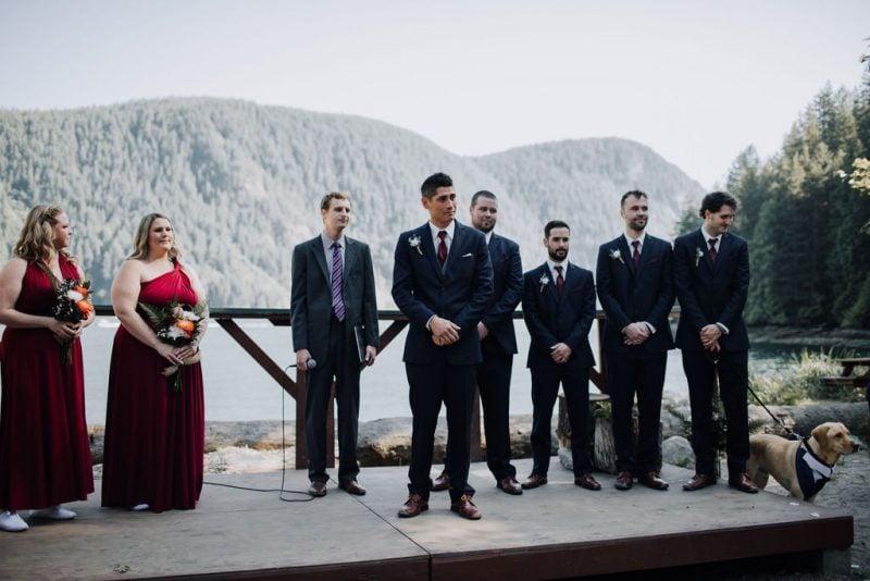Groom crying as bride walks down aisle