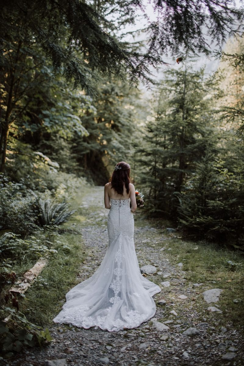 Bride in wedding dress with long, flowing train