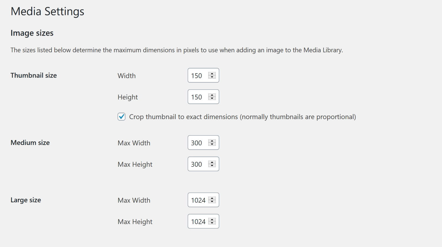Using the WordPress Media settings you can set custom dimensions for specific media sizes