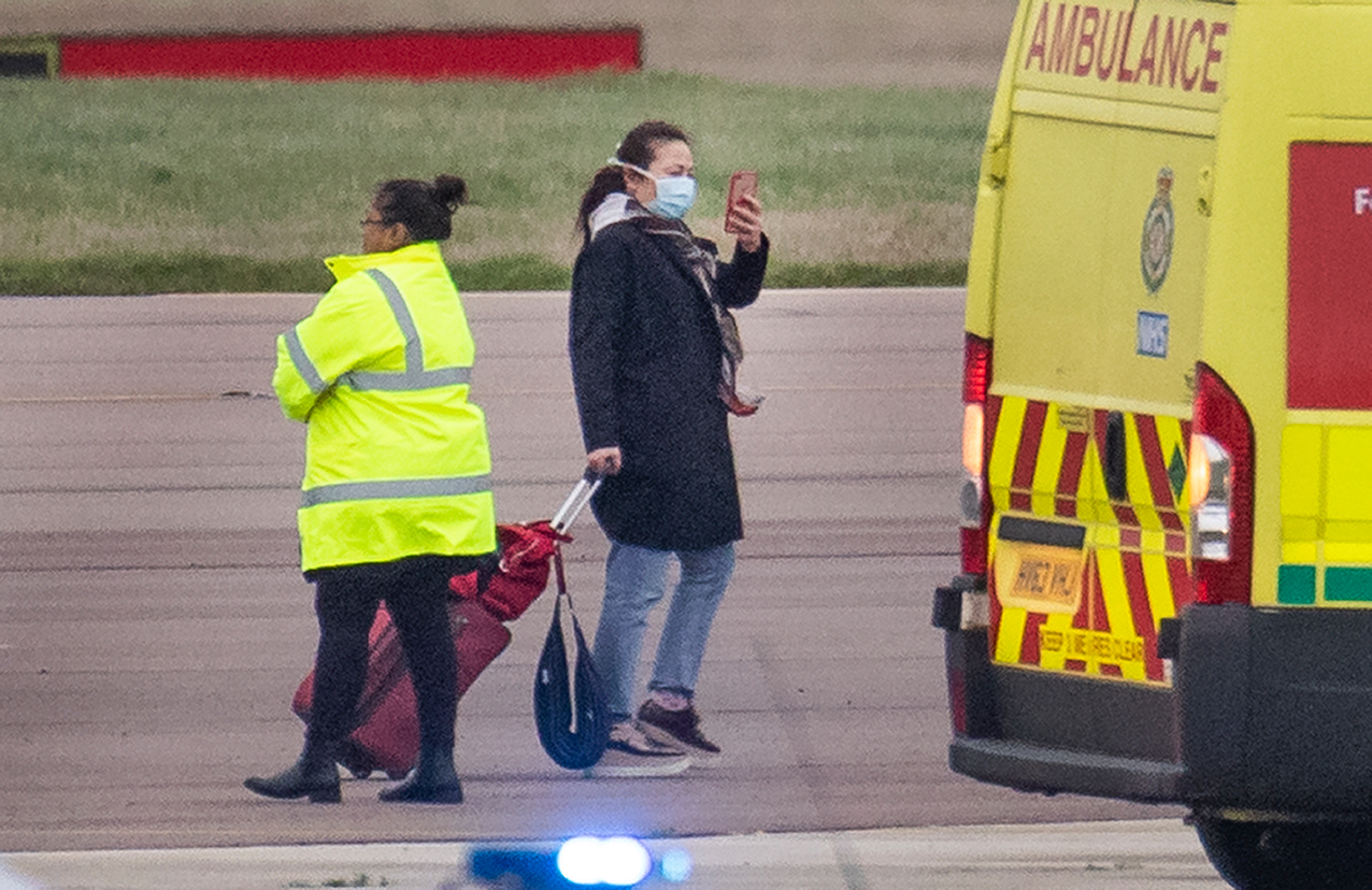 A woman took a selfie after the plane landed in Oxfordshire on Friday afternoon