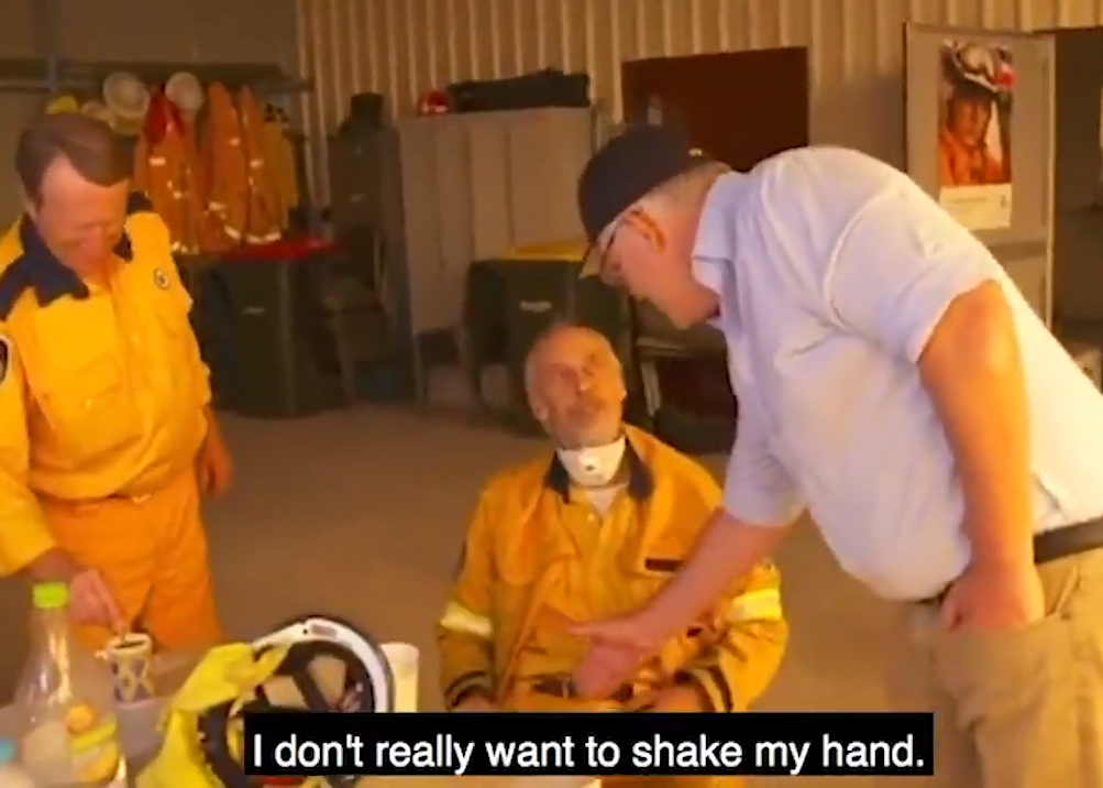 Aussie PM Scott Morrison was snubbed by a firefighter over his handling of the country's ongoing bushfire crisis