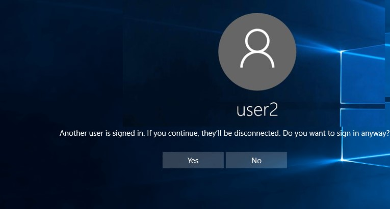 Another user is signed in. If you continue, they'll be disconnected. Do you want to sign in anyway?