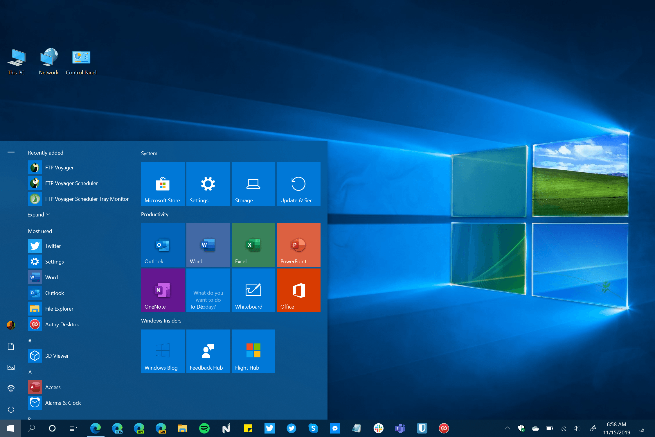 Windows 10 Version 1909 Start Menu and Desktop