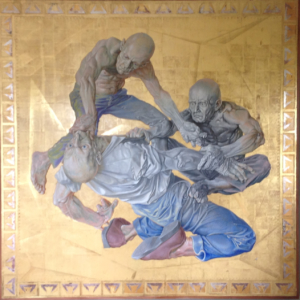 The Assistants, 2010; Egg tempera and gold leaf on panel. Collection of Ron and Pam Binns.