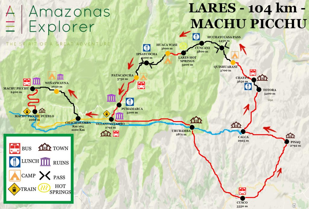 Lares Trek route map