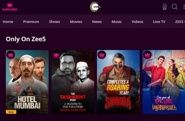 Zee5 - Movies and Web Series