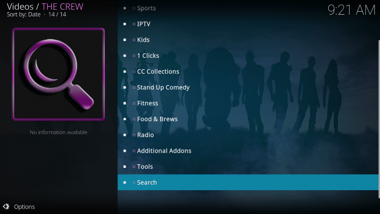 Return back to The Crew and select Search.