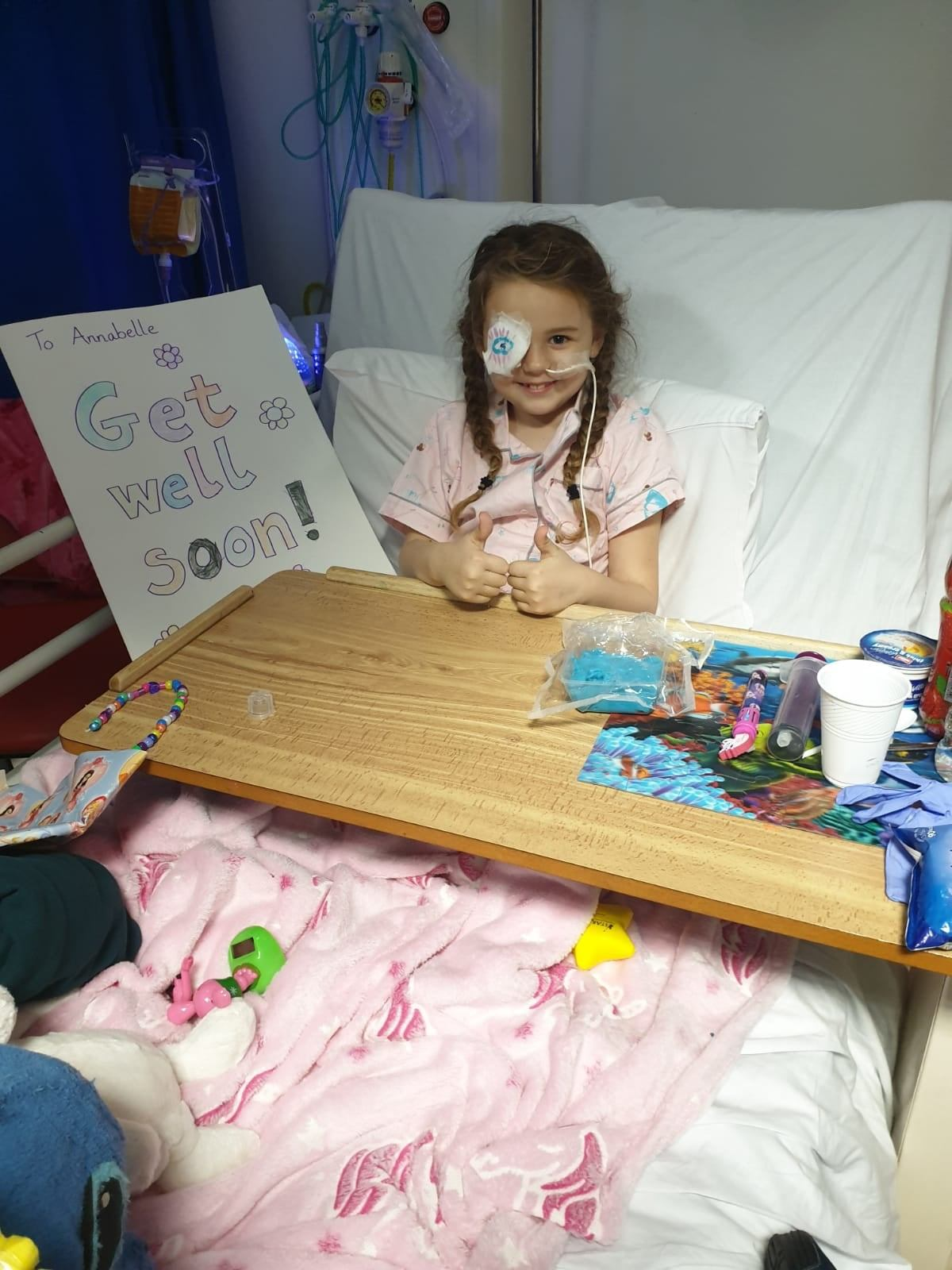 Annabelle couldn't walk or talk for five days after her brain surgery due to complications