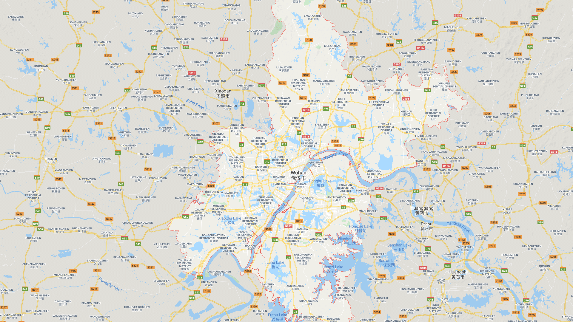 Map of Wuhan with surrounding cities.
