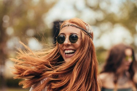 Portrait of woman in retro style smiling