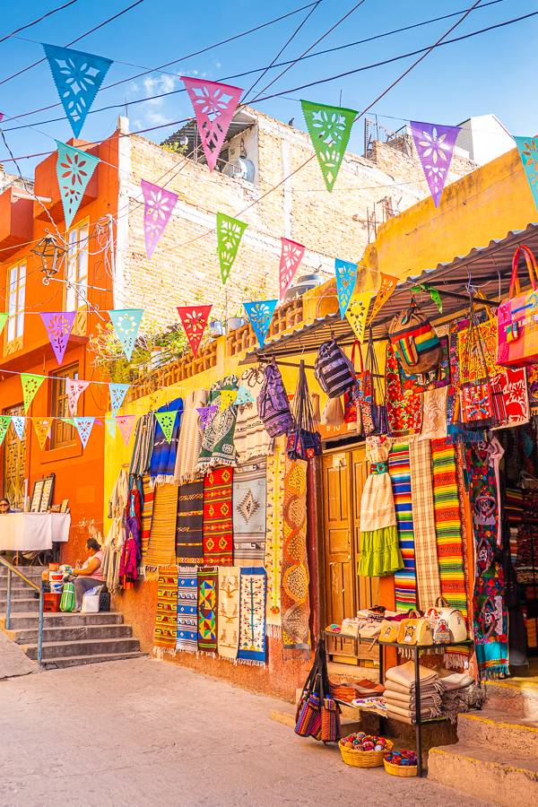 Market with colorful flags in Mexico