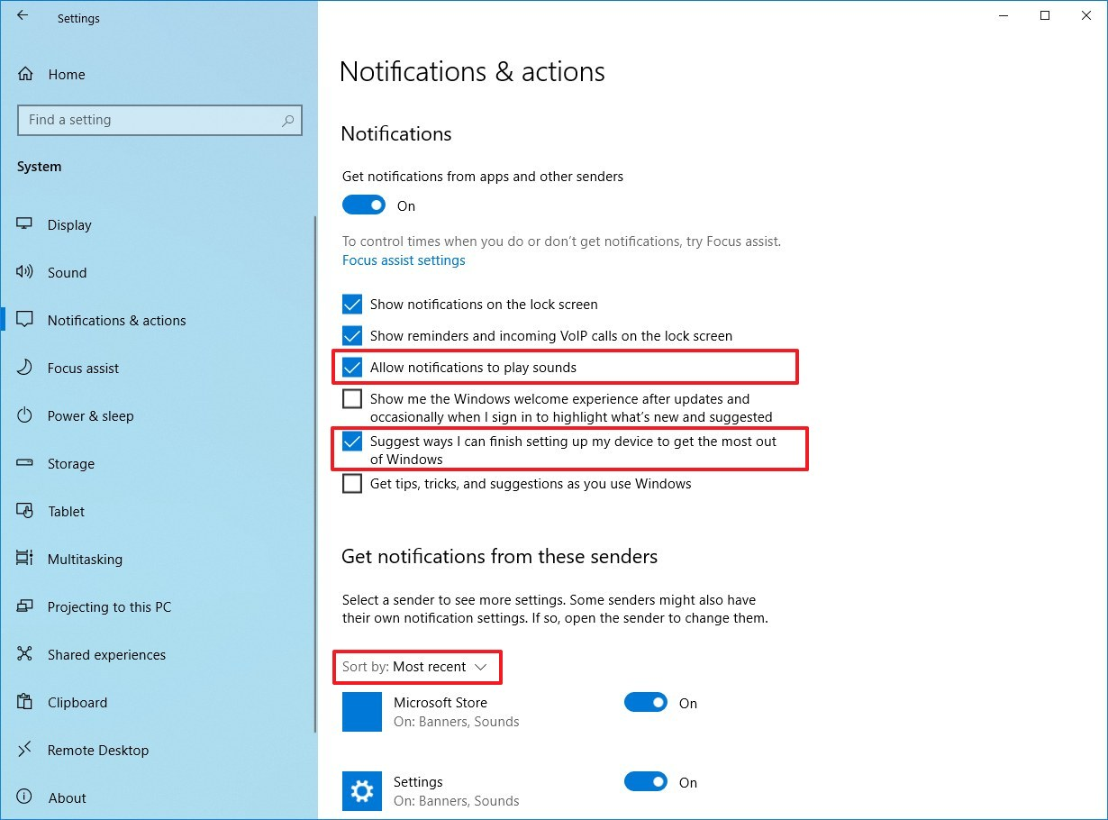 Notifications settings on Windows 10 version 2004