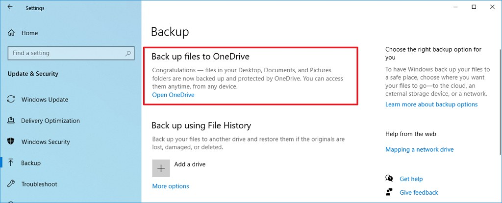 Backup settings with OneDrive option on Windows 10 May 2020 Update