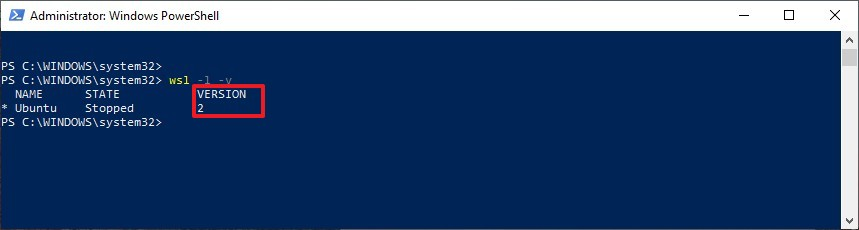 Check distro using Windows Subsystem for Linux 2 on PowerShell