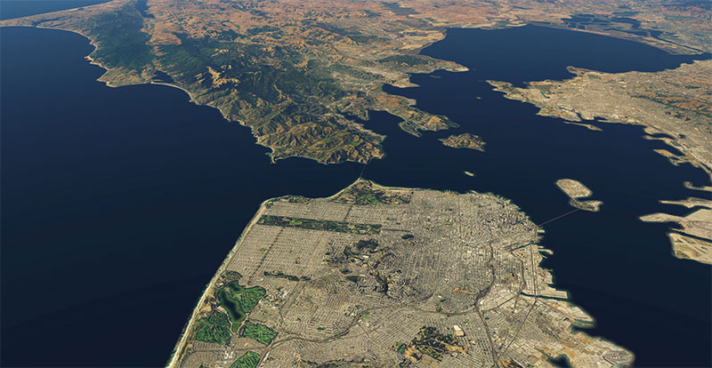 San Francisco Bay scenery from above.