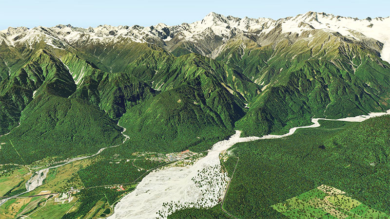 Mountains of New Zealand using the scenery in X-Plane 11.