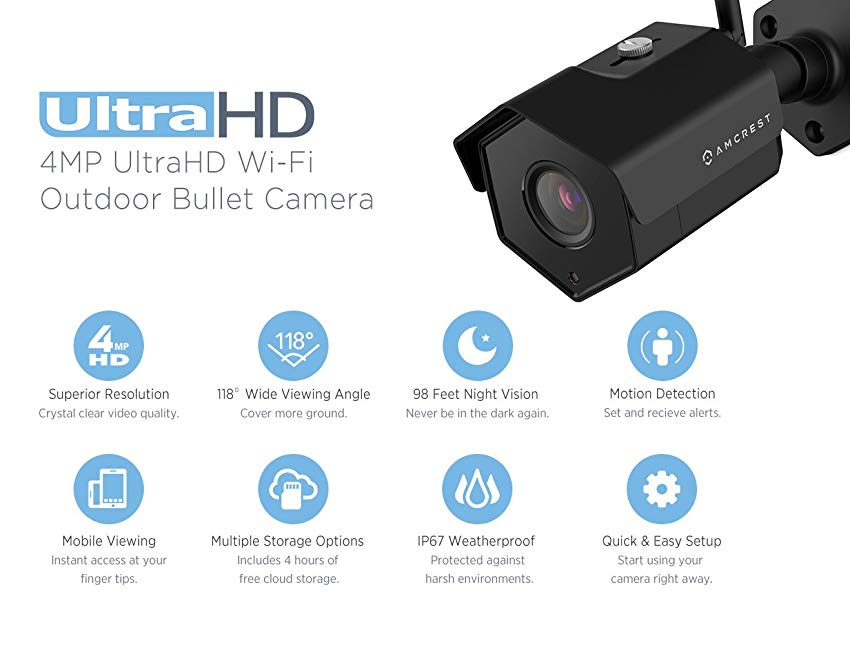 Amcrest 4MP IP Camera WiFi UltraHD Wireless Outdoor - Key Features and Specifications