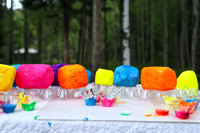 Making stacked, magnetic, paper mache sculpture with kids, using Seven Magic Mountains artist, Ugo Rondinone as inspiration.