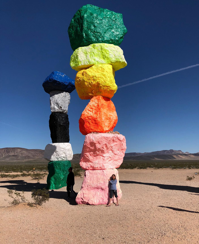 Kids make stacked, clay sculptures using Seven Magic Mountains artist, Ugo Rondinone, as inspiration.