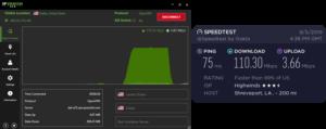 IPVanish Shreveport speed test