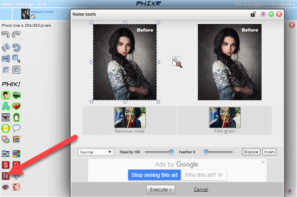 The online photo editing tool Phixr also offers the feature to reduce noise in photos online.