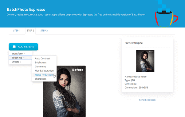 with the BatchPhoto Espresso which allows you to add multiple photos to be processed at a time.