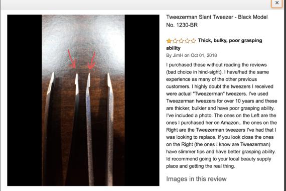 Screenshot of an amazon review of tweezers.