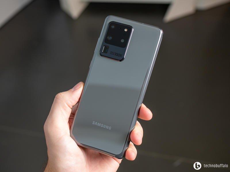 Galaxy S20 Ultra Grey Back In Hand