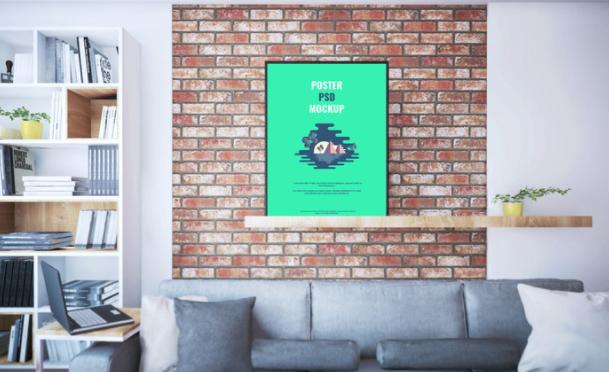 Poster On Shelf PSD Mockup
