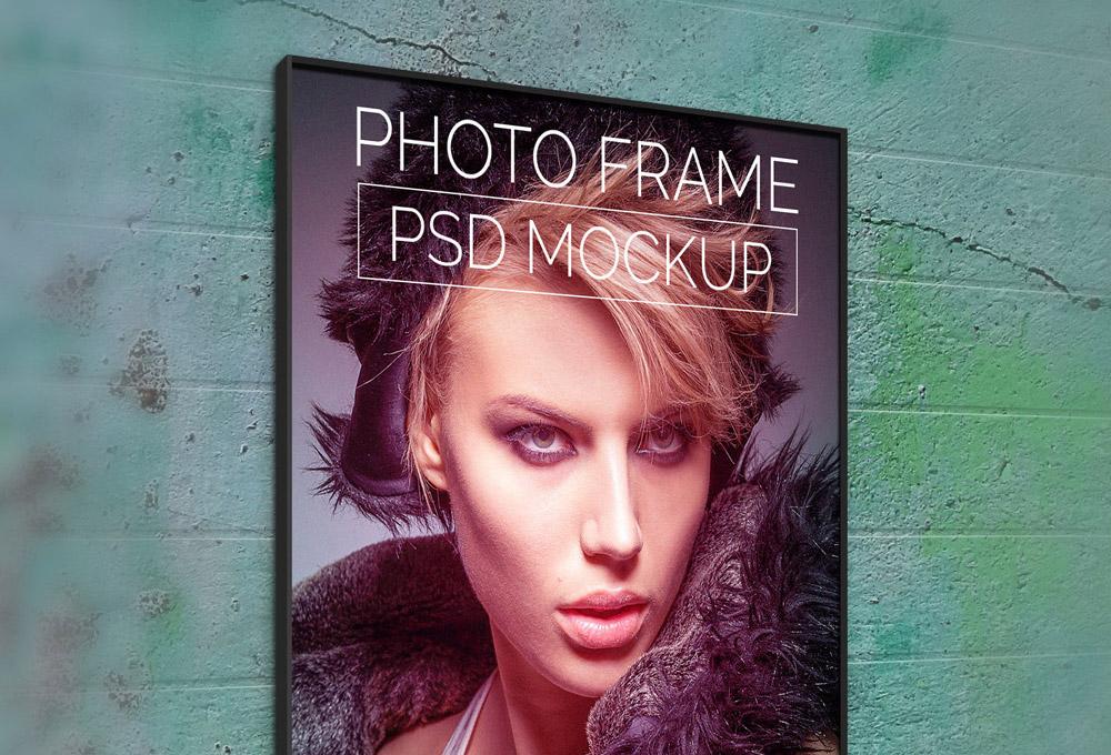 Wall Photo Poster Mockup PSD
