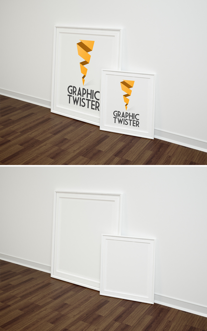 Double Right Poster Frame Mockup