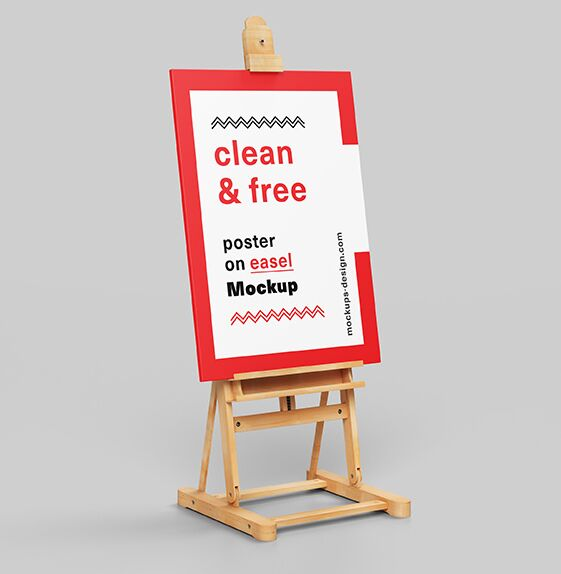 Poster on easel mockup