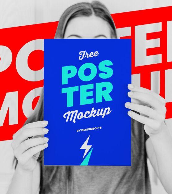 Female Hand Holding Poster Mockup PSD