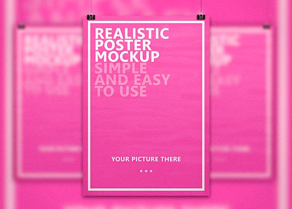 Realistic Poster Free Mockup