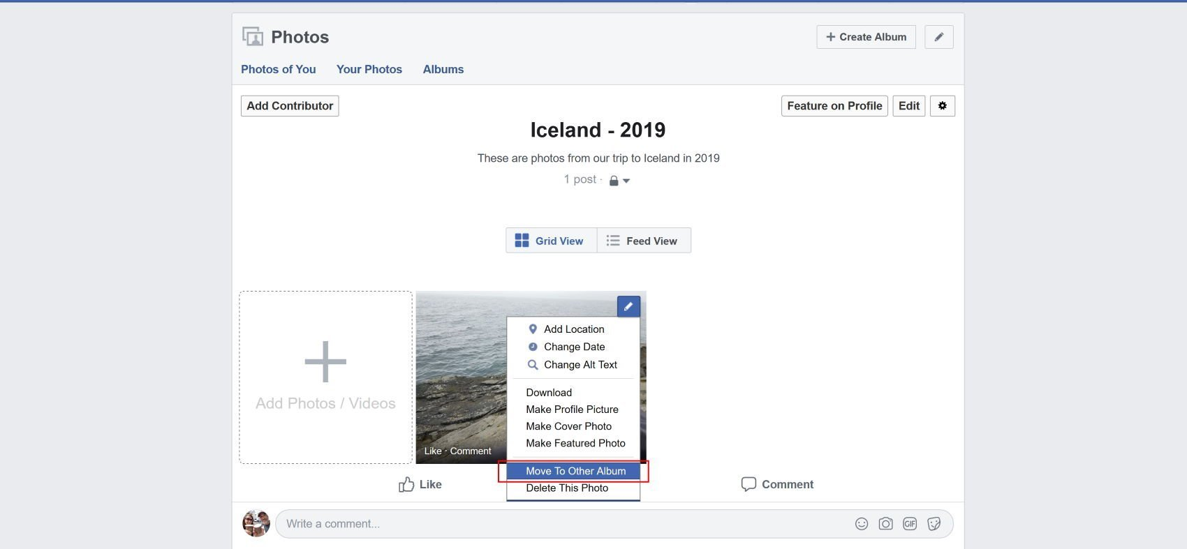 You can now move Facebook photo from one album to another