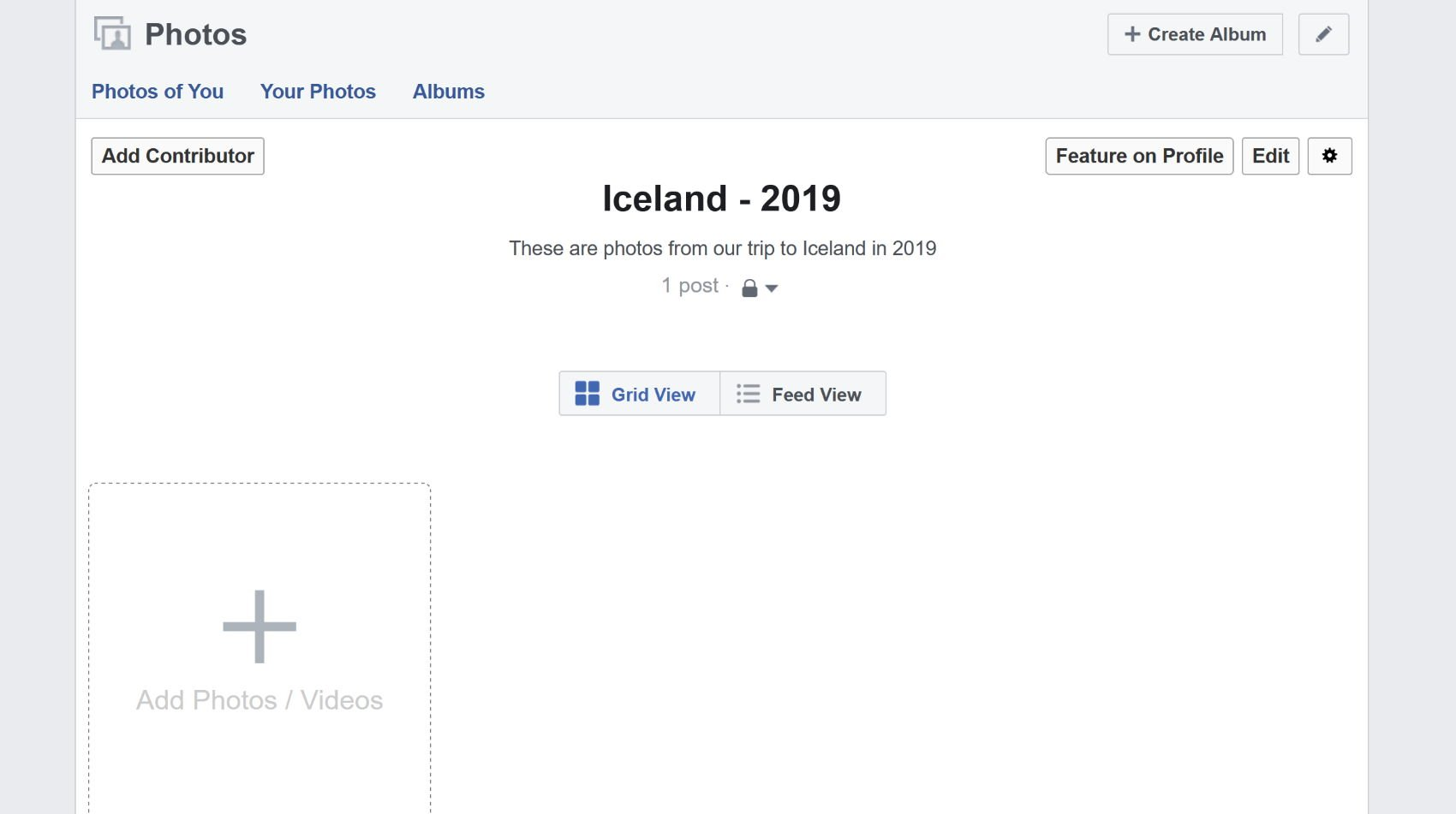 The new Facebook album is empty because the photo has been moved to the target album