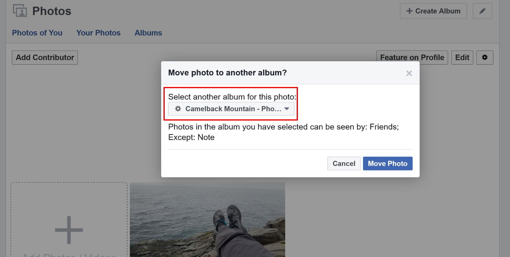 Choose the target album where you want to move your Facebook photo