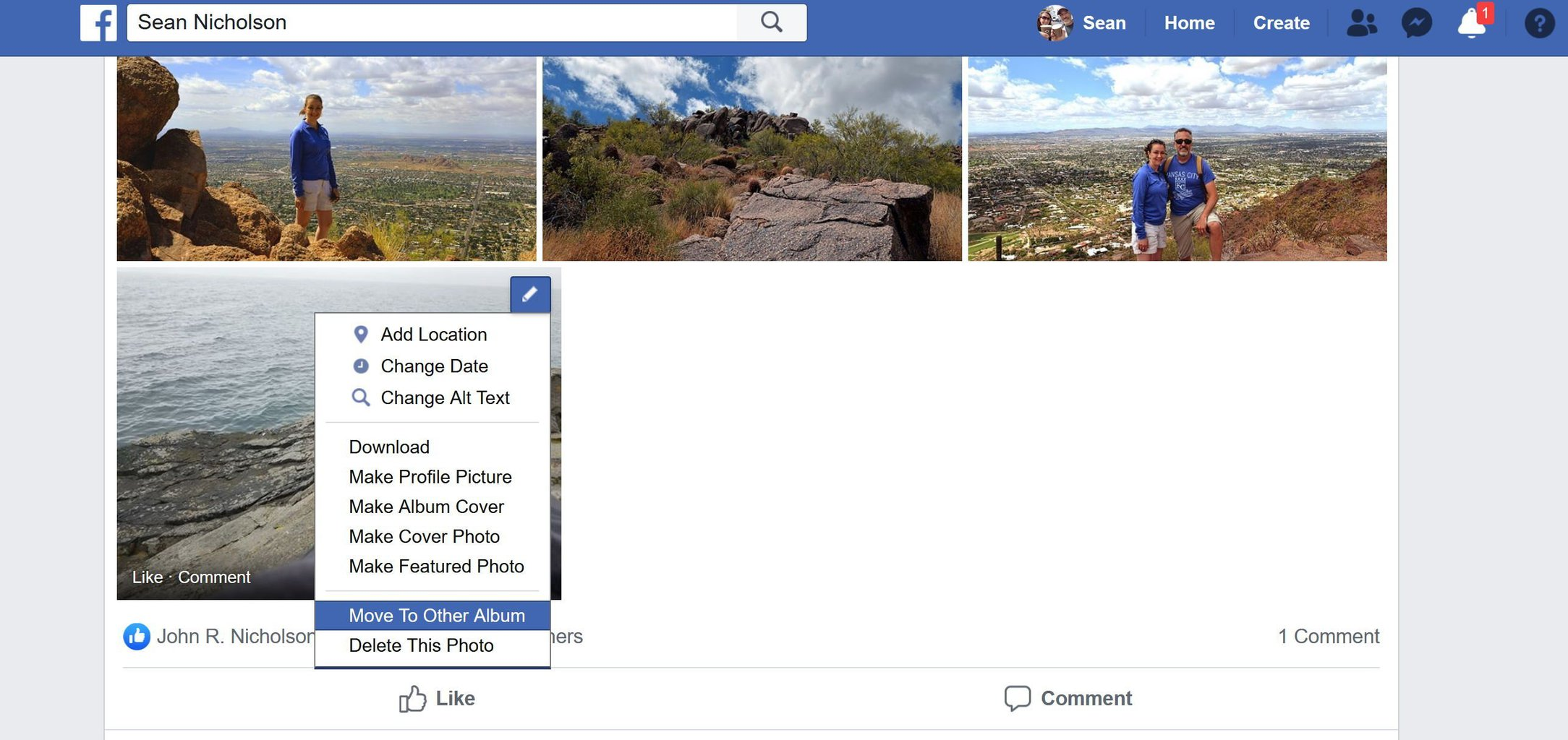Select the Facebook photo and choose to move it to another album
