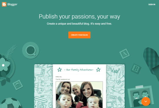 The Blogger front page