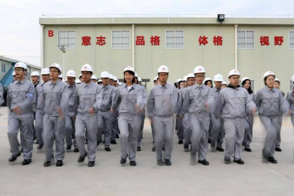 Huawei employees morning exercises