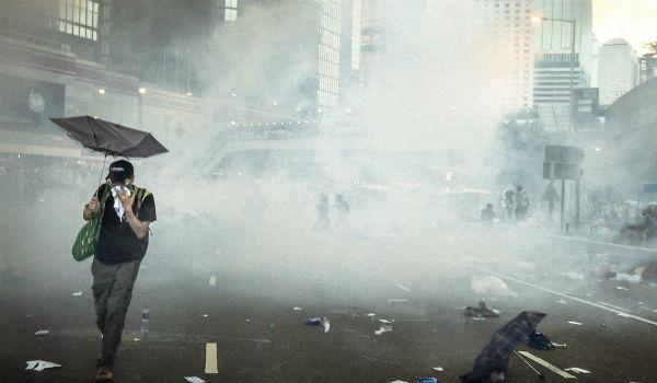 Hong Protester Umbrella Protests