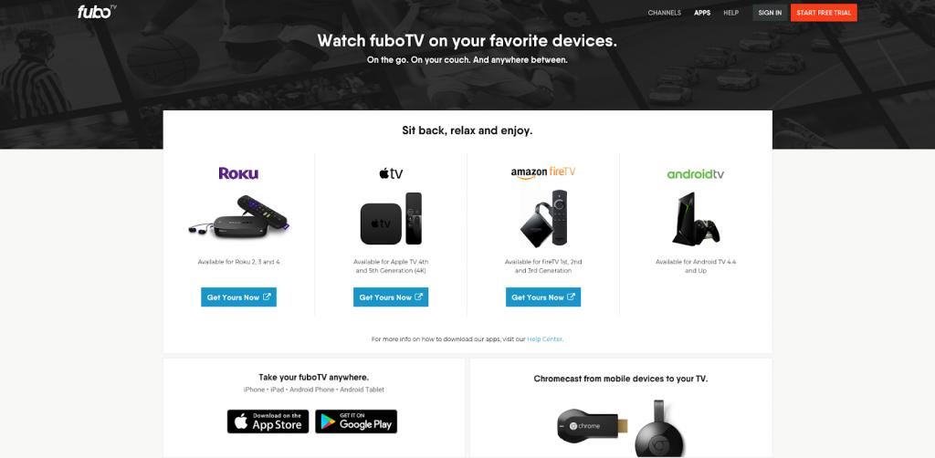 fubotv device support roku apple tv chromecast fire tv android tv