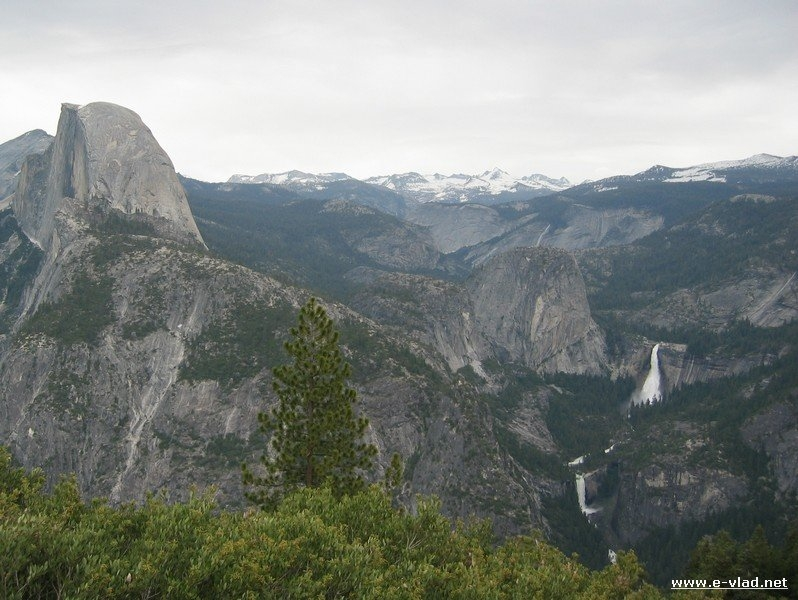 Yosemite's Half Dome with Vernal and Nevada Falls seen from Glacier Point