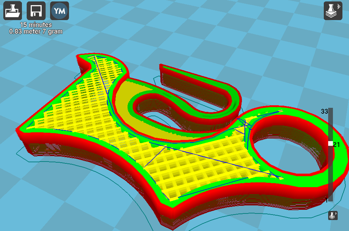 Chainsaw trigger - sliced in Cura
