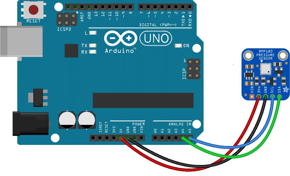 Arduino Barometric Pressure Sensor - BMP180 Wiring Diagram